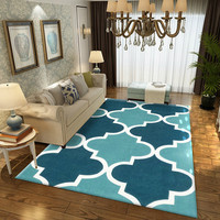 Living Room Carpet Nordic Style Geometric Pattern Coffee Table Floor Mat Decoration Polyester Hairless Bedroom Rug