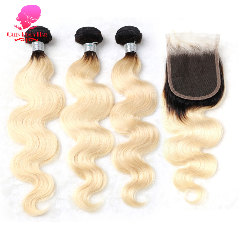 QUEENBEAUTY 1B 613 Honey Blonde Hair Brazilian Body Wave Remy Hair 3 Bundles with Lace Closure