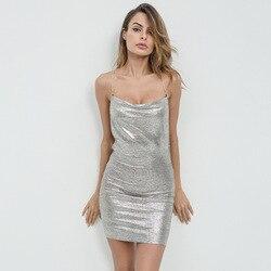Liva girl Pencil Dresses for Women Dress 2018 V Neck Sequin Mini Sexy White Club Bandage Dress Bodycon Celebrity Vestido De Fest 4