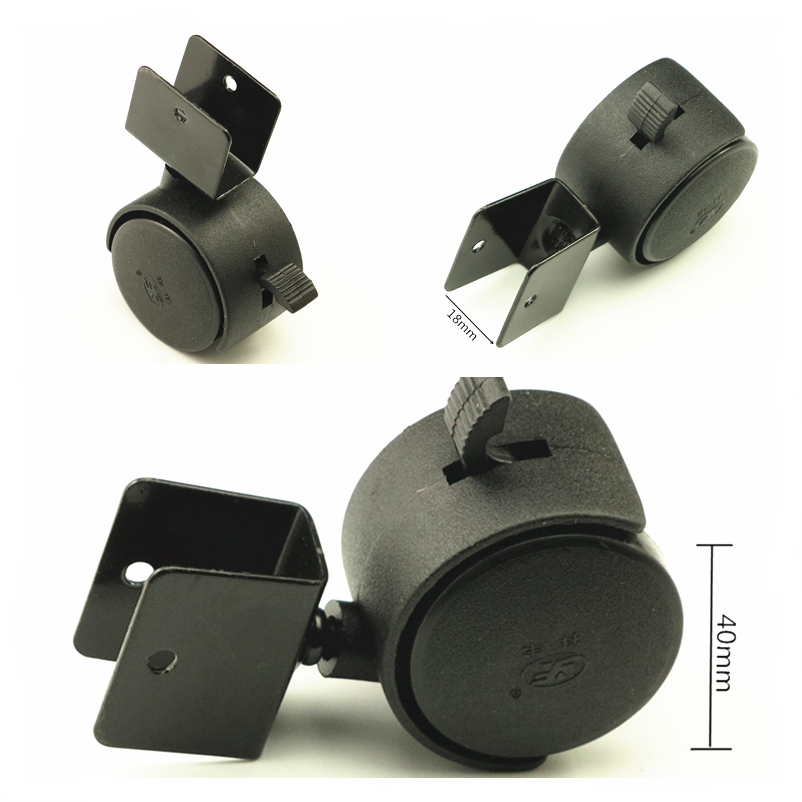 4pcs/Set Black 40mm Replacement Swivel Casters Furniture Office Chair Baby Crib Sofa Brake Plastic Rolling Roller Wheels Caster