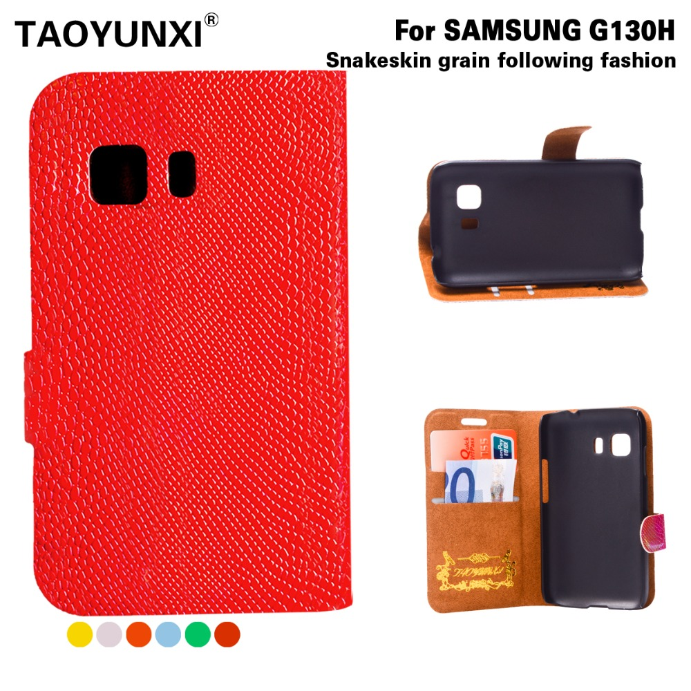 New Snake Phone Cases for Samsung Galaxy Young 2 G130 G130H G130E PU Cell Phone Leather Case Wallet Style Cover Colors Available