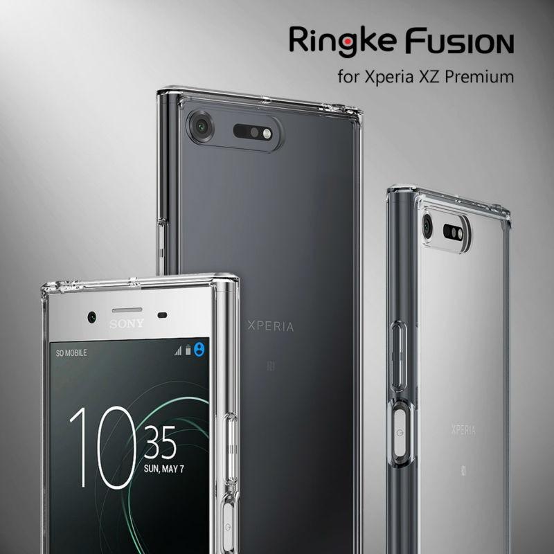 imágenes para Ringke Fusión Caso para Sony Xperia Caso Prima Crystal Clear XZ Contraportada PC y Tpu Híbrido Marco Casos Gota Proteger