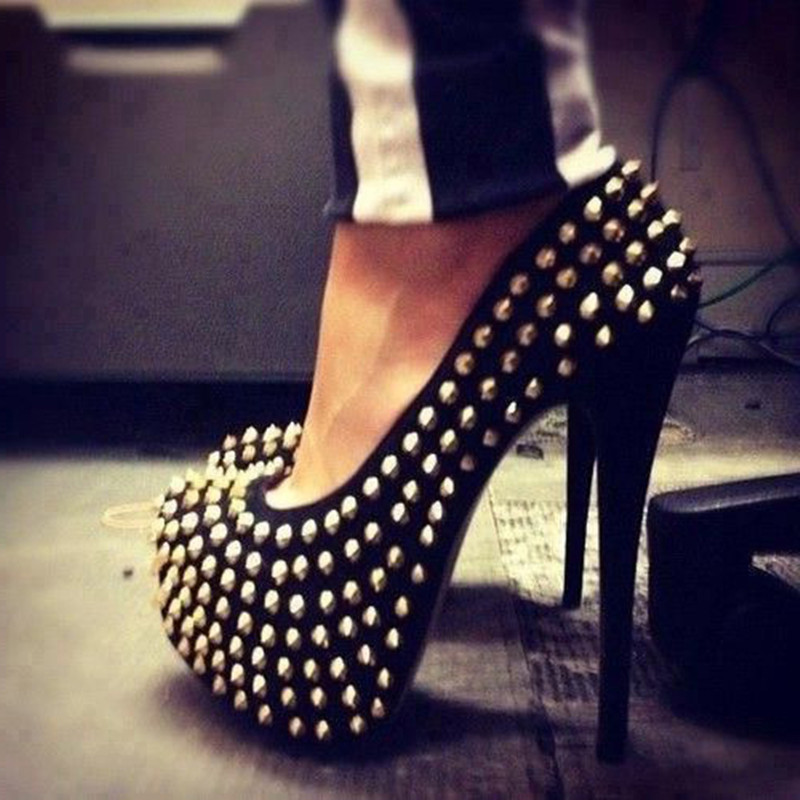 SHOFOO Shoes.Fashion Novelty Free Shipping,  Black Cashmere Leather, Decorative Rivets, 14.5 Cm High Heel Shoes. SIZE:34-45