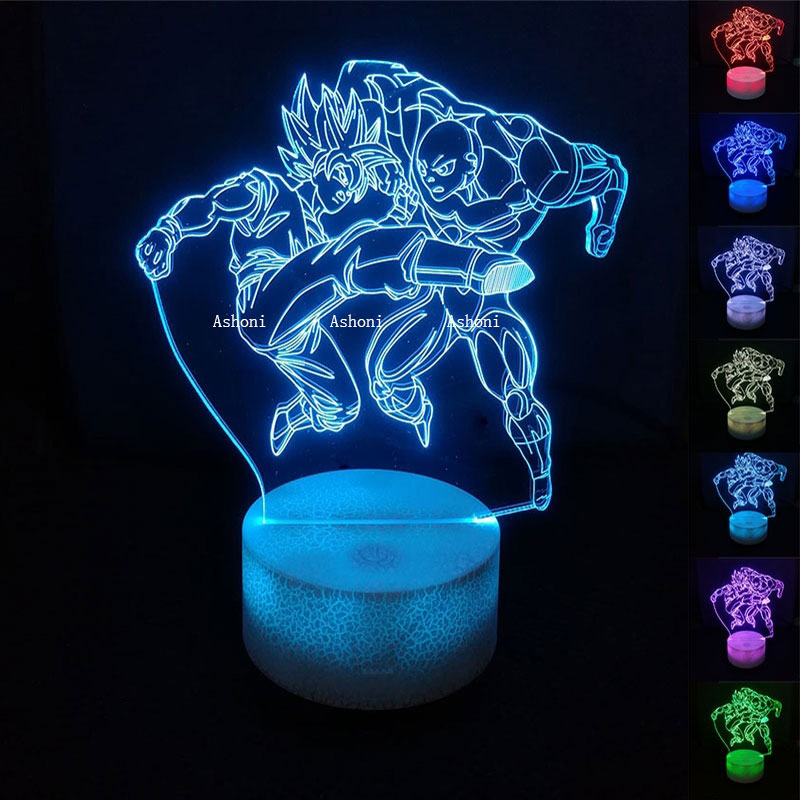 Glorious Dragon Ball Z Goku Vs Jiren 3d Table Lamp 7 Color Change Anime Dragon Ball Super Jiren Vs Goku Toy Dbz Led Night Christmas Gift To Have A Unique National Style Led Night Lights
