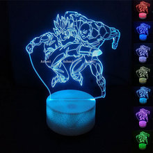 Dragon Ball Z Goku VS Jiren 3D Table Lamp 7 Color Change Anime Super Vs Toy DBZ Led Night Christmas Gift