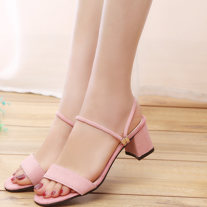 Sandals female 2019 Korean version of the summer new style with low heel wild casual women's sandals(China)