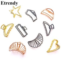Vintage Simple Hair Accessories For Women Big Metal Clip Gold/ Black Color New Fashion Jewelry