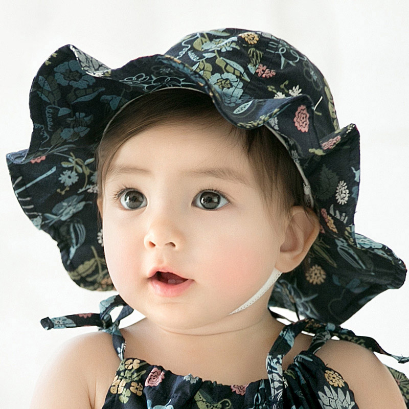 86799a98a6c Baby Hat For Girl Kids Floral Printing Infant Beach Bucket Hats Newborn  Toddler Outdoor Summer Brim