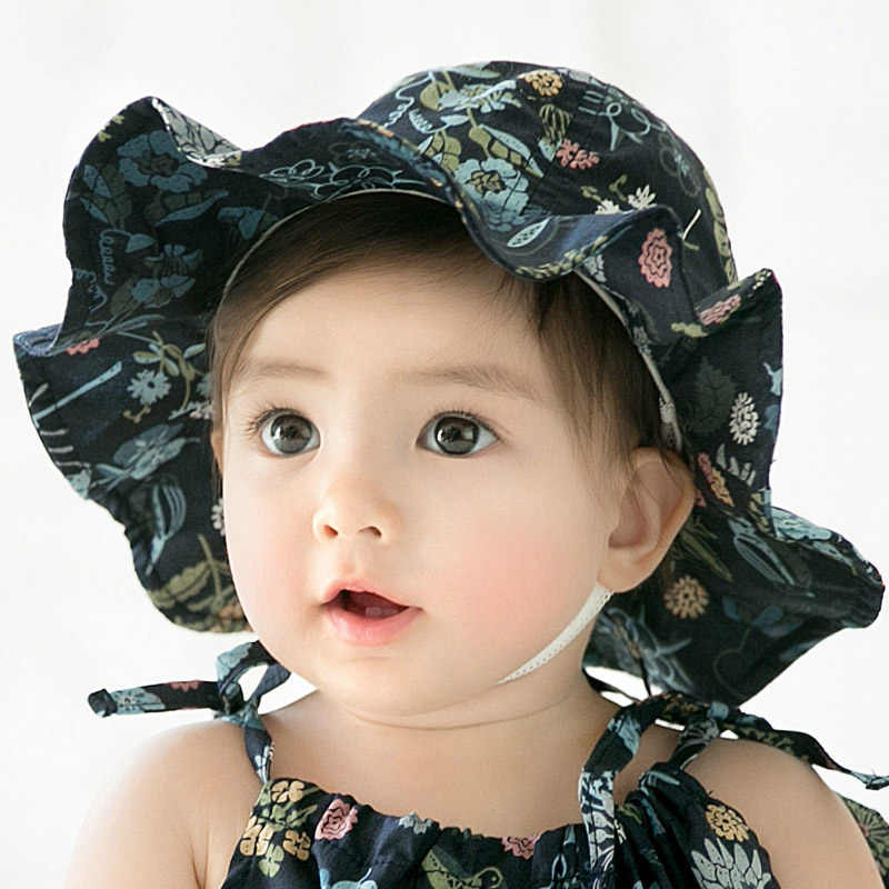 c7225dd3 Baby Hat For Girl Kids Floral Printing Infant Beach Bucket Hats Newborn  Toddler Outdoor Summer Brim