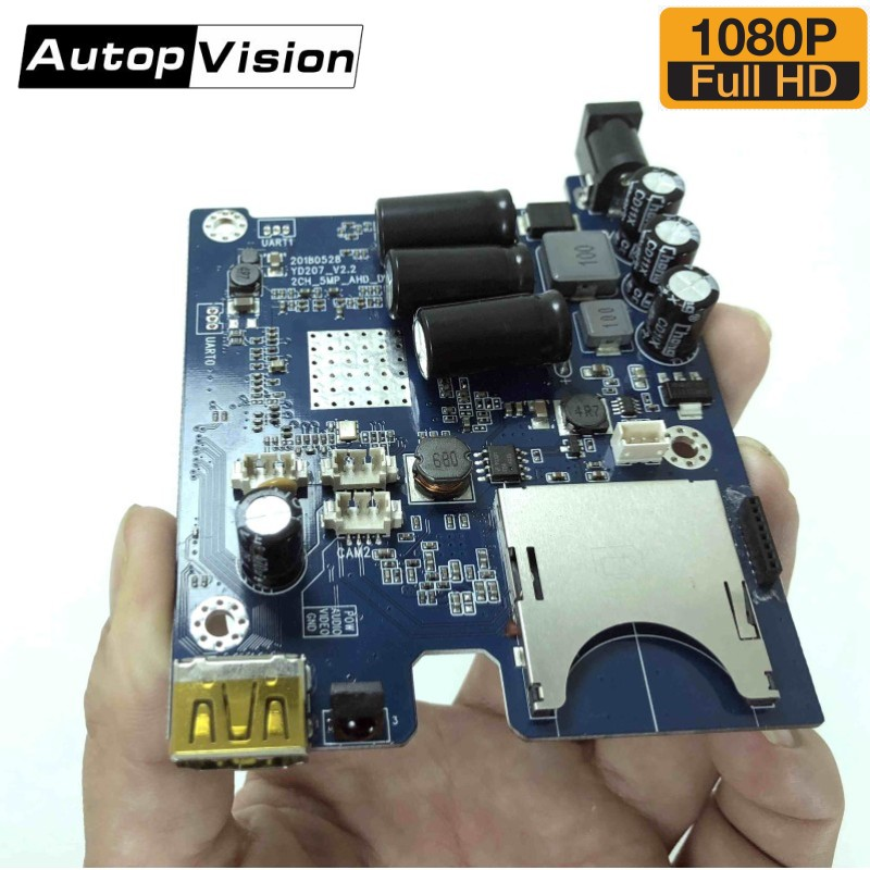 5pcs/lot 2CH AHD DVR PCB Board HD 1080P Real-time Mini Vehicle Mobile DVR Board support 128GB SD Card with remote control