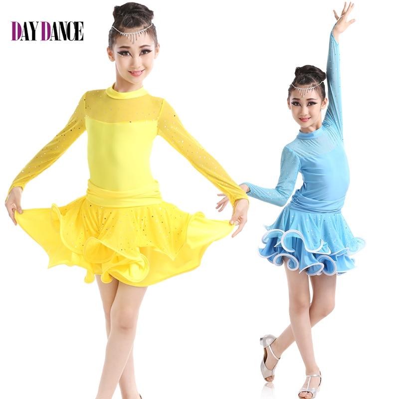 Free Shipping Girls Sexy Lace Long Sleeve Sequin Latin Dance Dress Ballroom Stage Salsa Tango Dance Dress Children