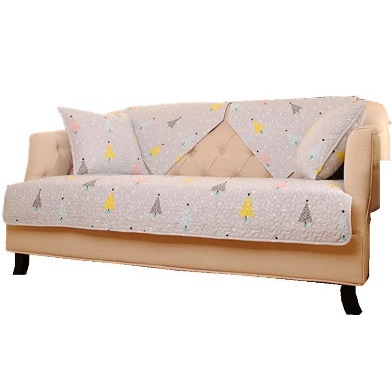 Light Grey Sofa Slipcover: Light Grey Cotton Quilting Sofa Cover Fresh Style Cartoon