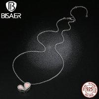 Bisaer جودة عالية 925 فضة الوردي القلب قلادة 1 الاسلوب مع 6 أنواع يرتدي الأزياء قلادة للنساء diy HSN053