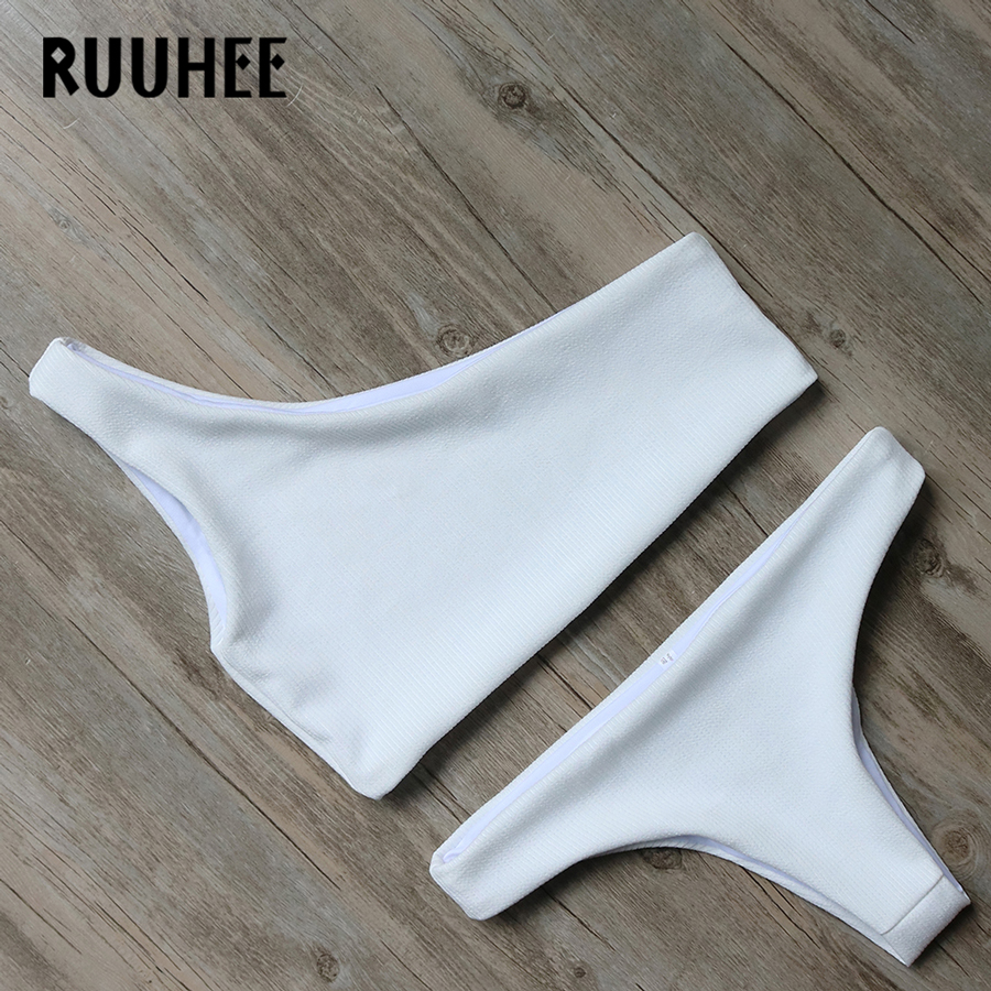 RUUHEE Solid Bikini 2020 Swimwear Women Swimsuit One-Shoulder Bathing Suit Bikini Set Summer Brazilian Female Beachwear Biquini