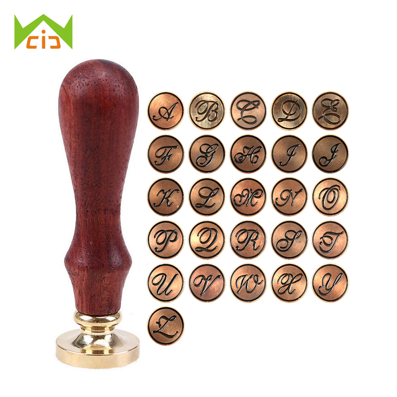 WCIC Brass Head Wood Handle Letter Sealing Wax Stamp for Wedding Invitation Envelope Scrapbooking DIY A-Z Initial Seal Stamp square design white laser cut invitations kit blanl paper printing wedding invitation card set send envelope casamento convite