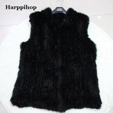 Harppihop меховой женский модный натуральный вязаный из меха кролика жилет женский жилет из натурального меха верхний жилет(утепленный) жилет