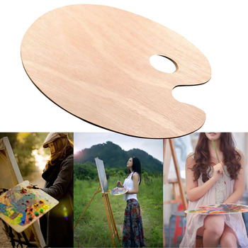 Flat Smooth Watercolor Artist Acrylic With Thumb Hole Oil Painting Art Supplies Wooden Oval Palette Tray