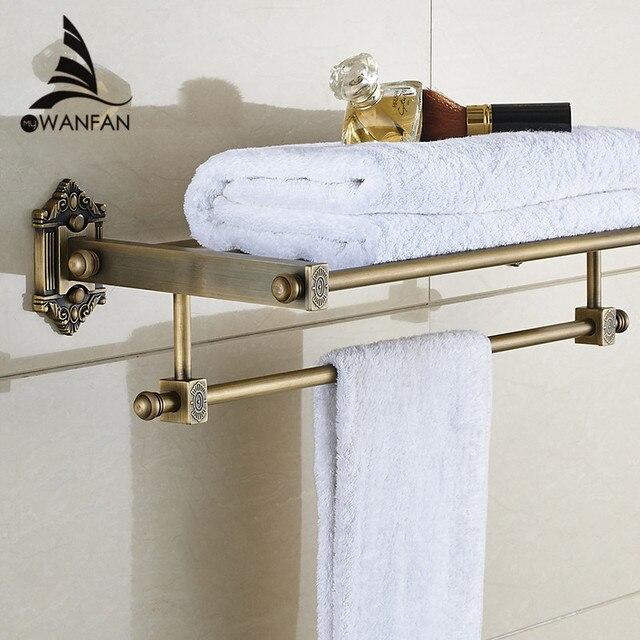 US $77.35 35% OFF|Badezimmer Regale Tier Messing Wand Bad Regal  Handtuchhalter Halter Kleiderbügel Schienen Hause Dekorative Accessoires ...