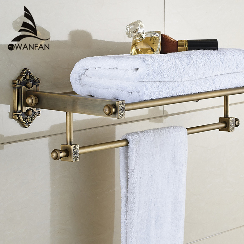 Bathroom Shelves Dual Tier Brass Wall Bath Shelf Towel Rack Holder Hangers Rails Home Decorative Accessories Towel Bar WF-71208 whole brass blackend antique ceramic bath towel rack bathroom towel shelf bathroom towel holder antique black double towel shelf