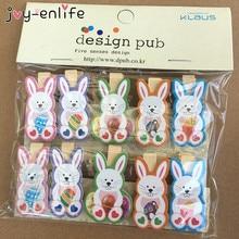 JOY-ENLIFE 10pcs Easter Wooden DIY Photo Clips Handmade Cartoon Bunny Rabbit Wood Photo Clip Birthday Easter Decor Supplies