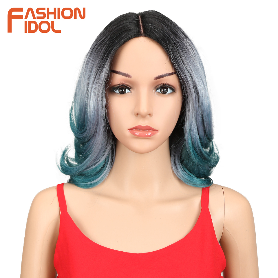 FASHION IDOL Synthetic Hair Short Wigs For Black Women Hair Crack Lace Front Wig Ombre 14 Inch Heat Resistant Hair Synthetic Wig