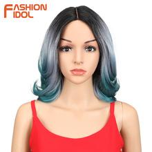 FASHION IDOL Synthetic Hair Short Wigs For Black Women Hair Crack Lace Front Wig Ombre 14 Inch Heat Resistant Hair Synthetic Wig стоимость