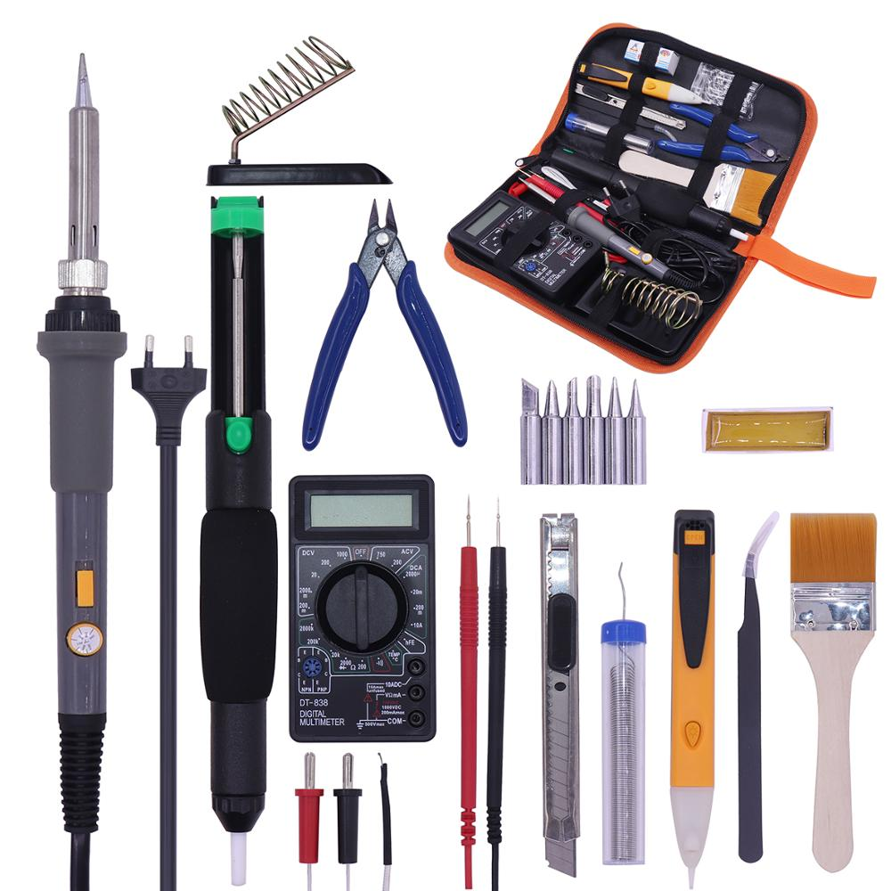 PJLSW Temperature Electric Switch type solder Kit 110V 220V 60W Soldering Iron kit With Multimeter Desoldeirng Pump Welding Tool