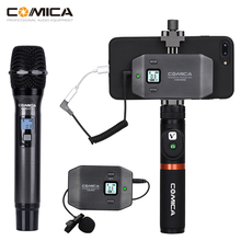 Comica CVM WS50 Wireless Handheld Microphone UHF 6 Channels Wireless Lavalier Mic System Portable Smartphone Microphone