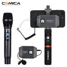 Comica CVM WS50 kablosuz el mikrofonu UHF 6 kanal kablosuz yaka mikrofon sistemi taşınabilir Smartphone mikrofon