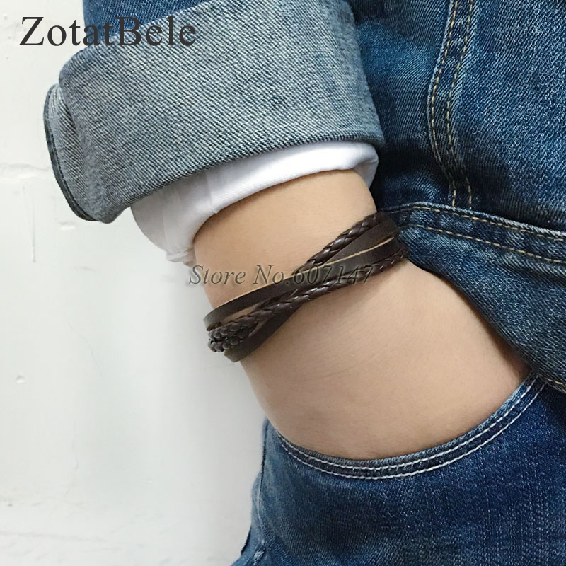 ZotatBele Handmade Bangle pulseira masculina Wrap Brown Retro Genuine Leather Bracelet Men with Braided Rope charm bracelet PT5