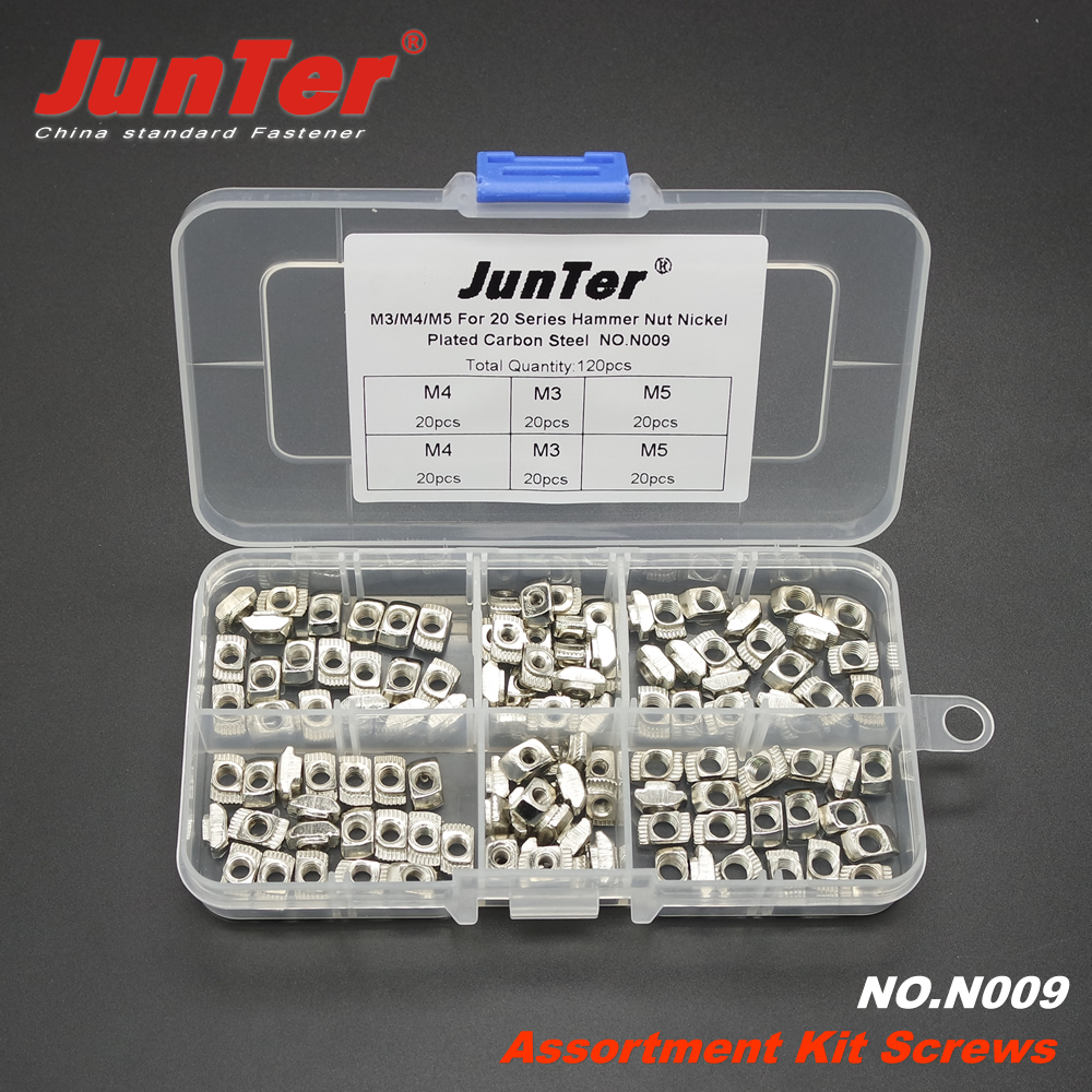 120pcs M3 M4 M5 For 20 Series Hammer Nut T Sliding Nut Zinc Plated Carbon Steel Aluminum Accessories Assortment Kit NO.N009 50 pieces metric m4 zinc plated steel countersunk washers 4 x 2 x13 8mm