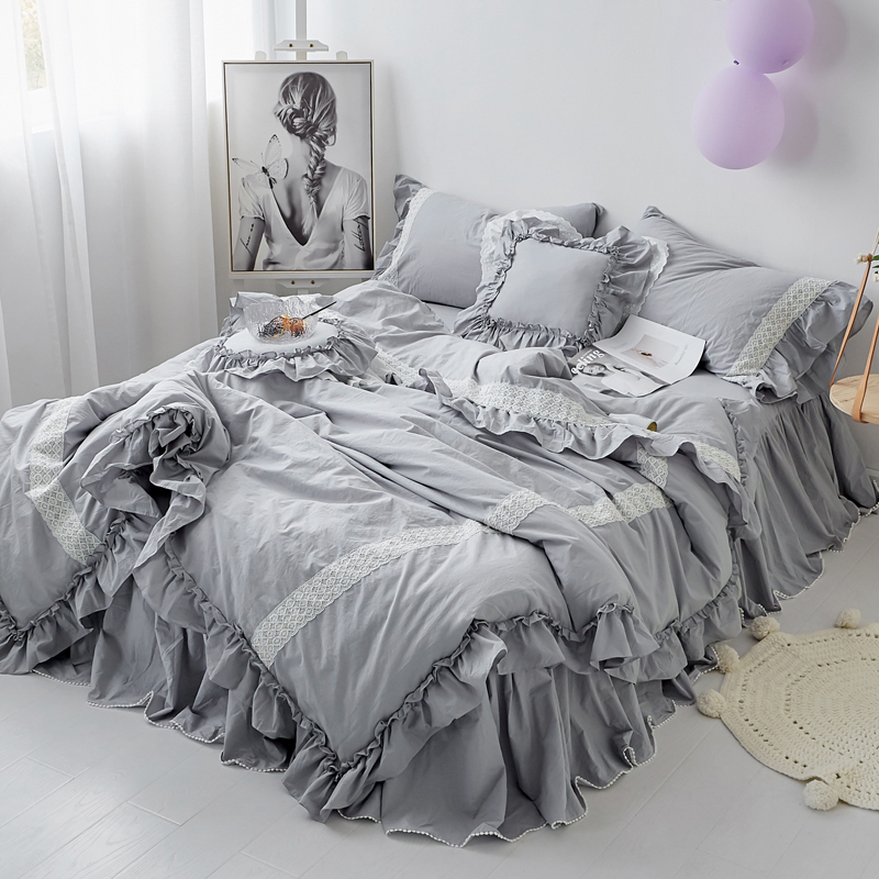 grey pink lotus korea princess bed sets girls ruffles bedding set romantic bed cover set for girls bedskirt twin queen king size
