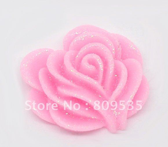 Free Shipping 100pcs Pink Resin Flower Flatback Findings For Scrapbooking Craft 21mm