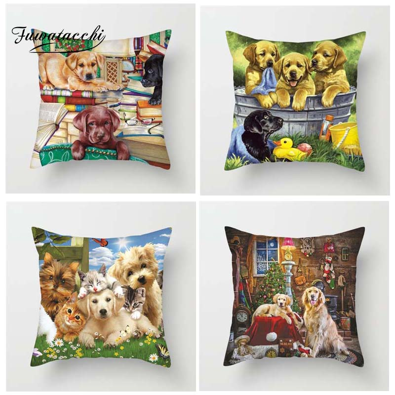 Fuwatacchi Dogs Cushion Covers Dalmatian Throw Pillow Covers for Home Sofa Bedroom Pets World 45X45 Plush Pillowcases in Cushion Cover from Home Garden