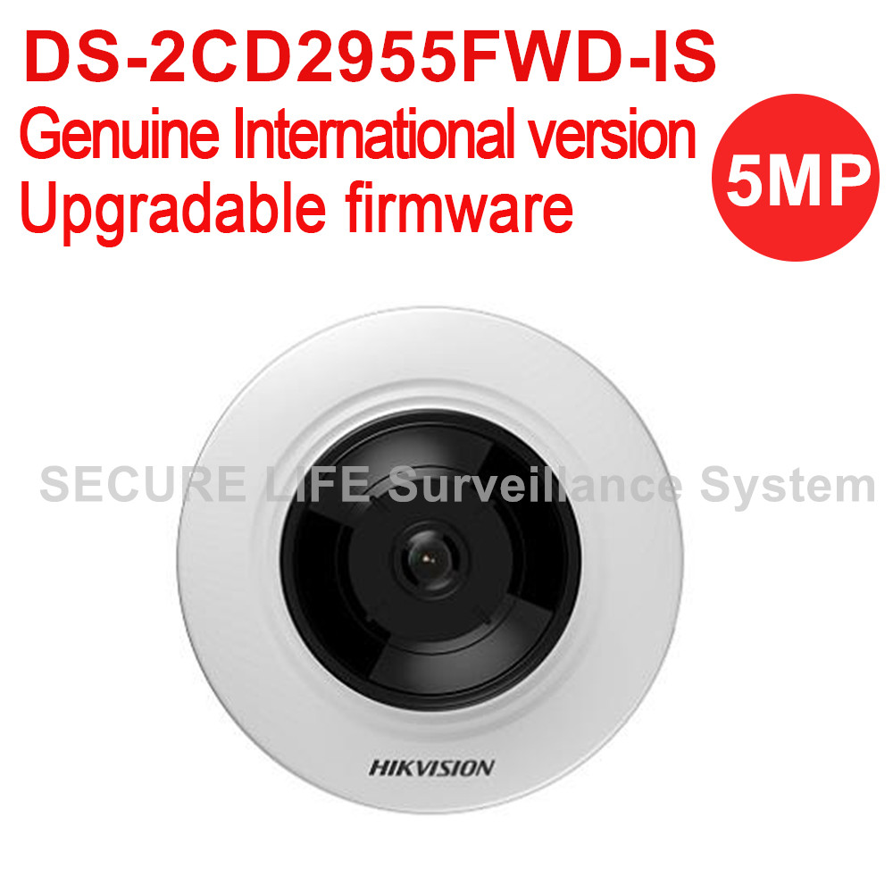 Hikvision DS-2CD2955FWD-IS International version 5MP Network Fisheye cctv ip Camera poe with 8m IR and 180 degree view angle in stock international english version ds 2cd2942f is english version 4mp compact fisheye network cctv camera fisheye