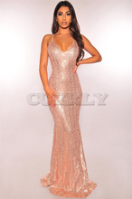 CUERLY Newly Arrival Sexy Women Strap Sequins Bodycon Long Mermaid Party Dress Backless Elegant Maxi