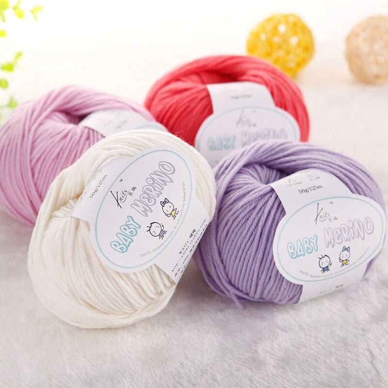 Envío libre 50g/bola bebé 100% lana merino bufanda que hace punto ...