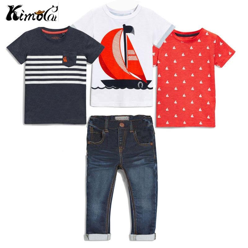 KIMOCAT/новая одежда для мальчиков На лето 4 шт. с коротким рукавом + джинсовые штаны в комплекты летней одежды ...