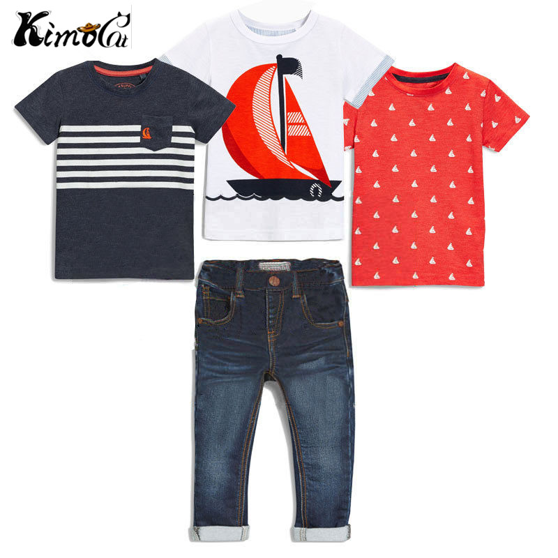 Kimocat  new boys clothes In the summer 4pcs Short sleeve + denim trousers in summer clothing sets