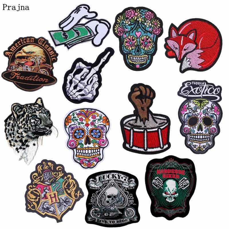 Prajna Estilo Punk Jaqueta de Patches Bordados Para Roupas Tambor DIY Etiqueta Do Crânio Do Açúcar Sapatos Animal Iron On Applique