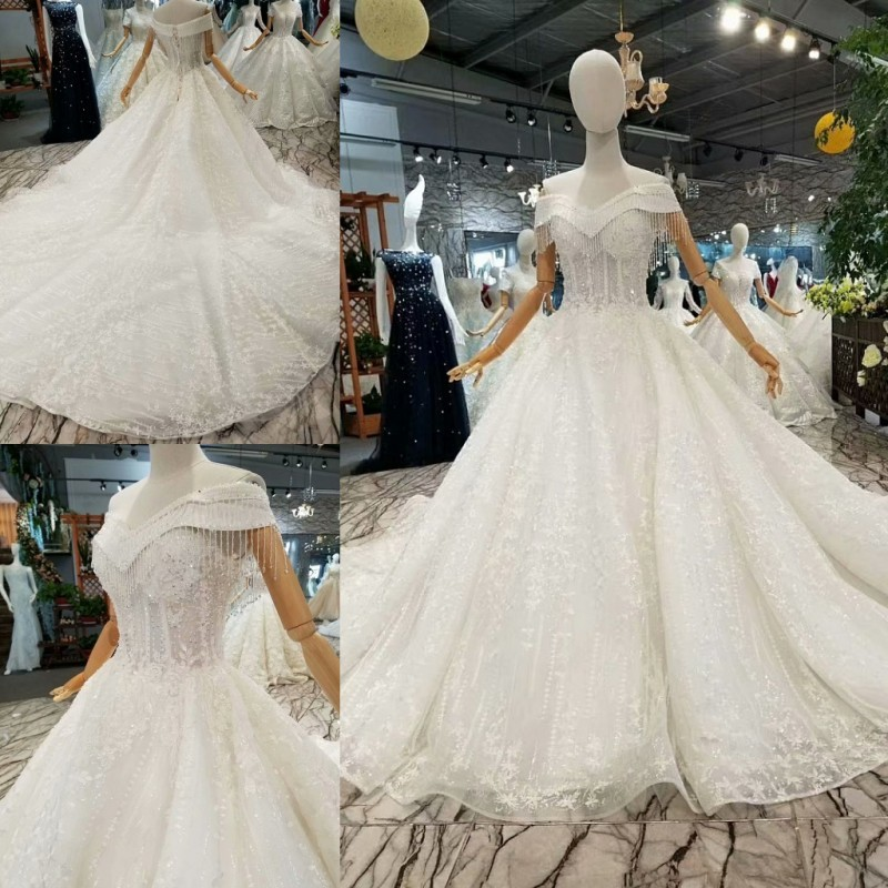 Glitter Fabric Ball Gowns Wedding Dresses 2018 Lace Custom Made Lace Stones  Off Shoulder Court Train Corset Elegant Bridal Gowns-in Wedding Dresses  from ... b921b7f5e7ff