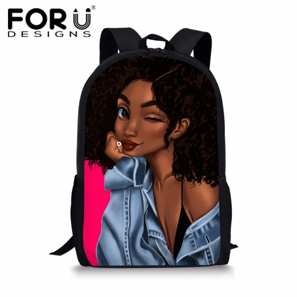 FORUDESIGNS School Bags Backpack Girls African Black Schoolbag Teenager Beauty Backpacks Children Schoolbags Mochila