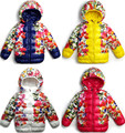 Female child with a hood hemming cotton-padded jacket space cotton flower down cotton fleece thermal girl outerwear