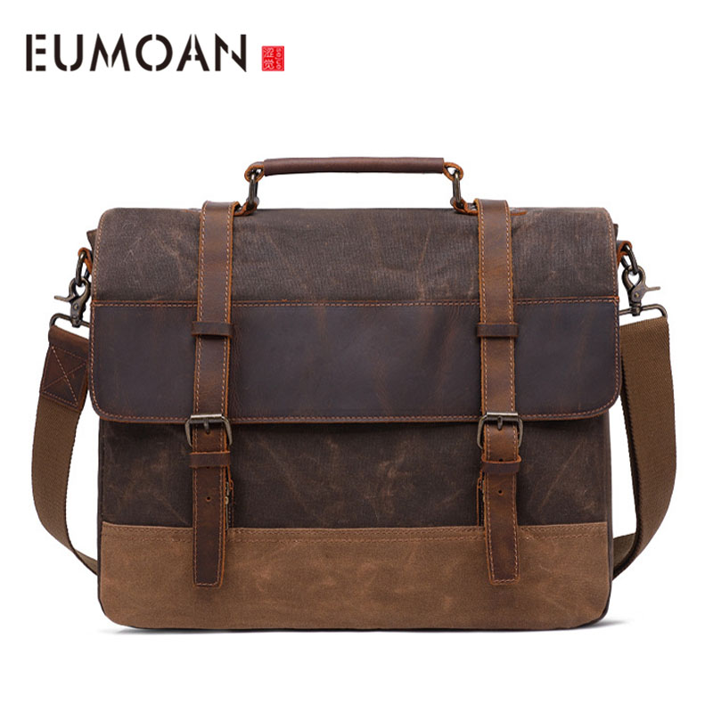 EUMOAN 16 Inch Messenger Bag for Mens Vintage Canvas Leather Laptop Briefcase Waterproof Men Large Shoulder