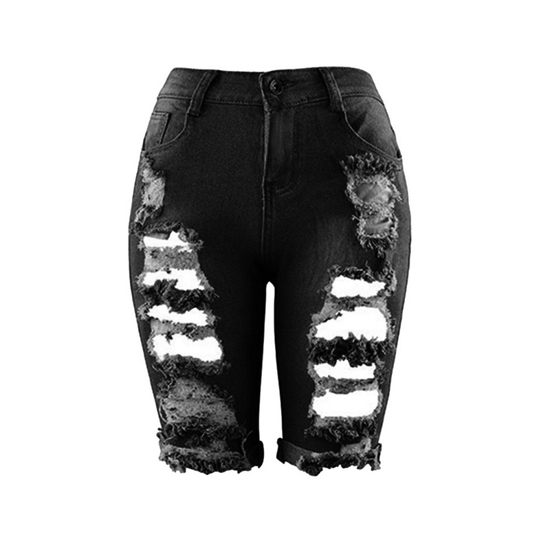 MoneRiff 2019 High Waist Women Half Ripped   Jean   Europe Style Personality Fashion Streetwear Holes Stretch Pant Slim Denim   Jeans