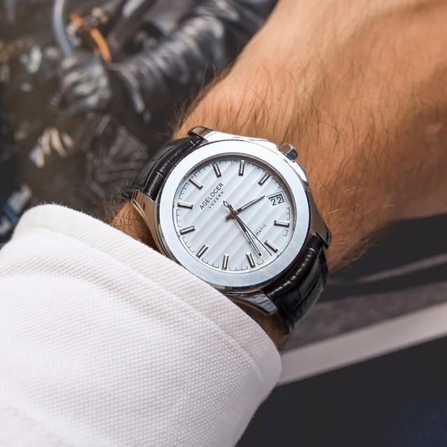 Agelocer mens dress 시계 스테인레스 스틸 아날로그 자동 시계 날짜 송아지 가죽 스트랩 방수 시계 6301a1