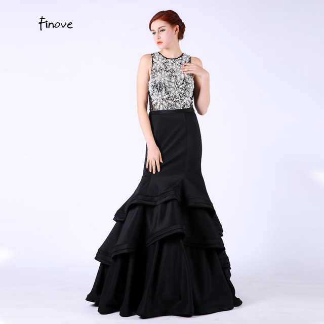 5e9ca0992 Abalorios de cristal Negro Sirena Larga Vestidos de Baile Scoop Neck Sin Mangas  vestidos de fiesta