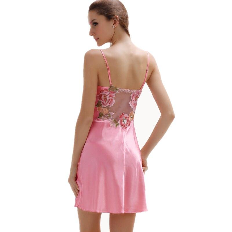 Sexy Nightie Satin Nightgowns Women Summer Nightwear Women Sleepwear Satin Embroidered Floral Mesh Back Slip Dress M XXL