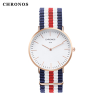 Top Brand CHRONOS Watch Men Women High Quality Leather Nylon Rose Gold Silver Clock 40mm Casual
