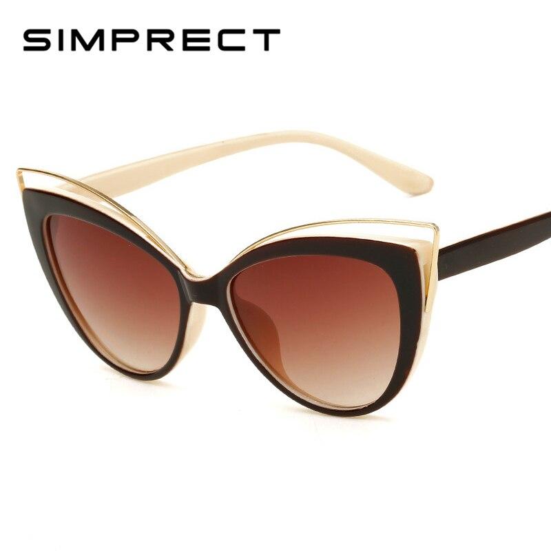 SIMPRECT 2019 lunettes De Soleil yeux De chat femmes Vintage dégradé lunettes De Soleil mode De luxe marque Design rétro Lunette De Soleil Femme